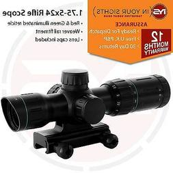 1.75-5x24 Rifle scope Red/Green illuminated reticle / Shockp