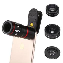 4-in-1 Mobile Phone Clip-On Camera Lens Kit, Professional 10