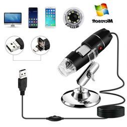 1000X/1600X Adjustable Microscope 8 LED Magnification Digita
