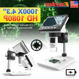 1000X 4.3'' HD 1080P LCD Monitor Digital Video Microscope Ma