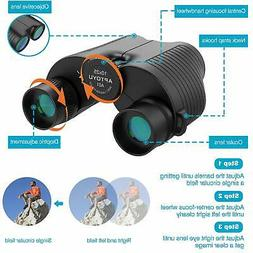 10x25 Compact Binoculars, Large Eyepiece High Power Folding