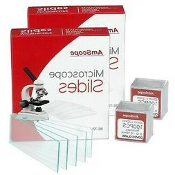 AmScope 144 Pre-Cleaned Blank Microscope Slides & 200 22x22m
