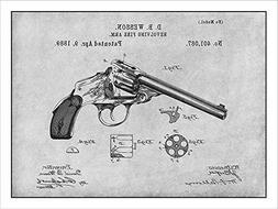 1889 Dan Wesson Revolver - Gun Patent Print Art Poster UNFRA