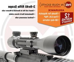 3-9x40 Rifle scope with tactical rails / Gun scope fits Dove