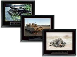 3 Framed Tank Sniper Military Motivational Posters