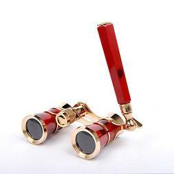 3x25 Optics Theater Opera Glasses Burgundy Binocular Gold Tr