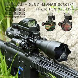 Pinty 3 in 1 4-16x50 Rangefinder Rifle Scope Red laser & Ref