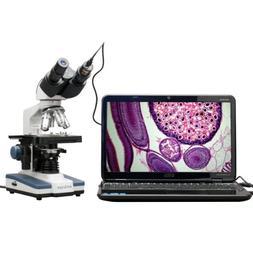 40X 2500X LED Digital Binocular Compound Microscope w 3D Sta