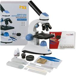 AmScope 40X-1000X 2-LED Portable Compound Microscope Kit for