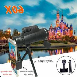 40x60 Zoom Monocular HD Telescope Telephoto Phone Holder + T