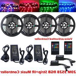 5M 10M 15M 3528 RGB LED Strip Light / 20key Music IR Remote