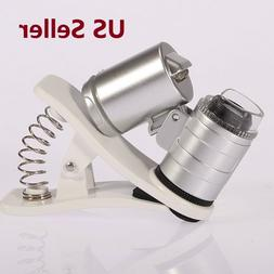 60X Zoom Mobile Phone Camera Optical LED UV Clip Magnifier M