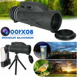 80X100 Zoom HD Lens Prism Hiking Monocular Telescope + Phone