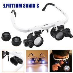 8x 15x 23x LED Head Magnifying Glass Loupe Jewelry Watch Rep