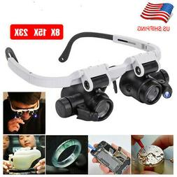 8x15x23x Magnifying Glass Lens LED Light Visor Head Loupe Je