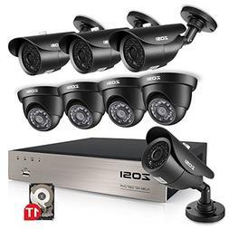 ZOSI 8CH 1080N HD TVI DVR 1280TVL HD Security Camera System