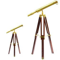 A Unique Nautical Marine Navy Telescope Wooden Tripod Brass