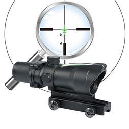 ACOG Style 4x32 Optical Rifle Scope With Real Green Optic Fi