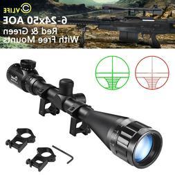 Cvlife 6-24x50 aoe Rifle Scope Red & Green Mil-dot Illuminat