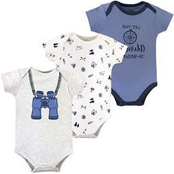 Little Treasure Baby Cotton Bodysuits, Binoculars 3Pk Short