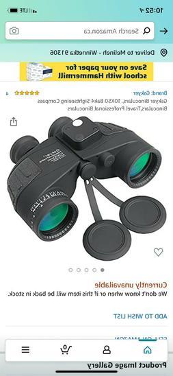 Gskyer Binoculars, 10X50 Bak4 Sightseeing Compass Binocular,