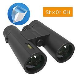 10x42 Compact Binoculars for Adults and Kids, Waterproof/Fog