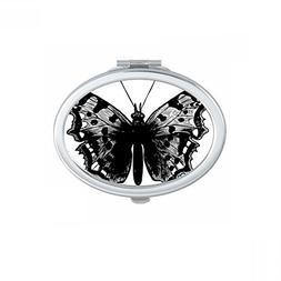 Black Butterfly Specimen Oval Compact Makeup Pocket Mirror P