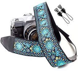 Blue Woven Vintage Camera Strap Belt For All DSLR Camera. Em