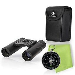 Compact Lightweight Binoculars for Adults/Kids 10x25 w/Compa