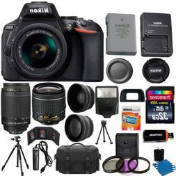 Nikon D5600 Black DSLR Camera w/ 18-55mm VR + 70-300mm + 32G