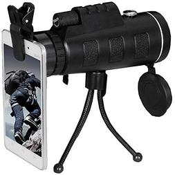 TMTBR 40x60 Dual Focus Monocular Telescope With Tripod ,Comp