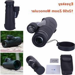 Eyeskey Waterproof 12x50 Monocular Telescope for Hungting Bi
