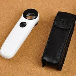 High Power 40x Light Magnifying Glass Hand Held Magnifier Wi