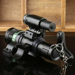 Adjustable Zoom CREE LED Flashlight Torch & Red Dot Laser Si
