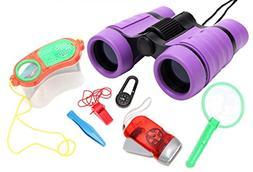 WODISON Kids Nature Exploration Kit Binoculars Set: Flashlig