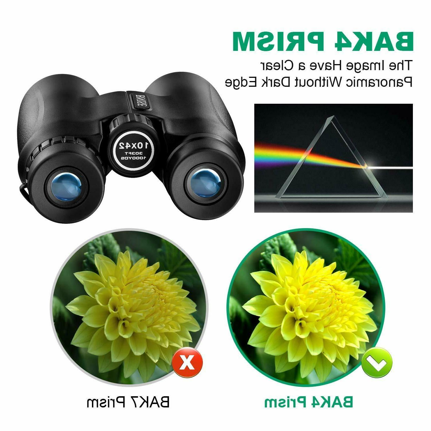 10X42 Binoculars Compact for Adult Professional BAK4 Roof