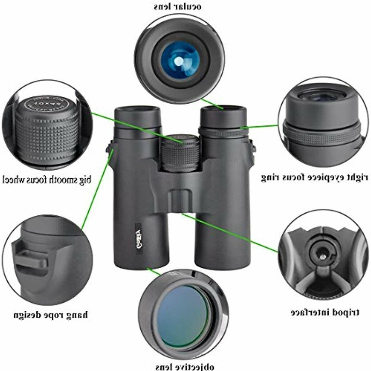 10x42 roof prism binoculars for adults hd