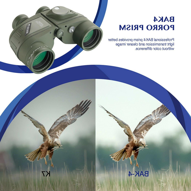 10X50 Waterproof Night Vision Rangefinder Compass BAK4 Prism