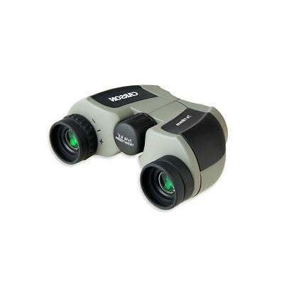 Carson 7x18 Mini Porro Binocular, 9.3 Degree Silver