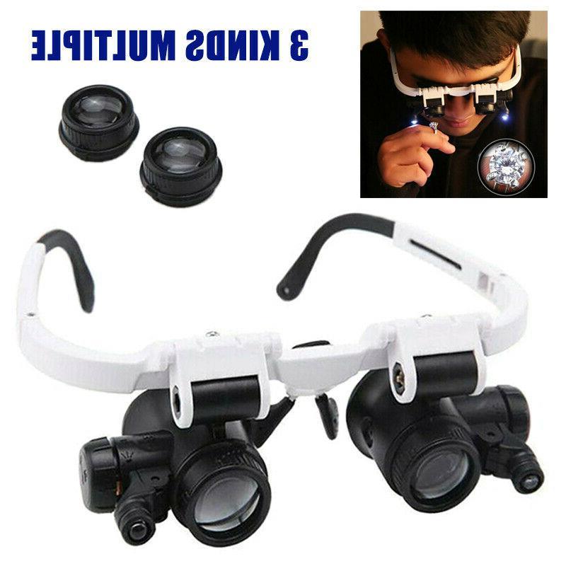 8x 15x 23x Headband LED Head Light Jeweler Magnifier Magnify