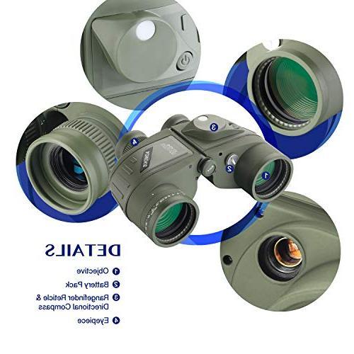 AomekieMarine Binoculars forAdults 10x50 Waterproof FMC for Birdwatching Hunting