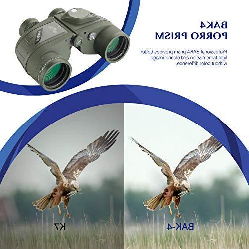 AomekieMarine Military 10x50 Waterproof Binoculars with Rangefinder Compass BAK4 Prism FMC for Birdwatching Hunting