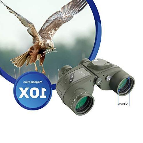 AomekieMarine Military 10x50 Waterproof Rangefinder Compass FMC Lens for Hunting Boating