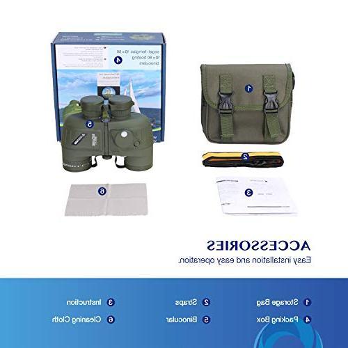 AomekieMarine 10x50 Waterproof with Rangefinder Compass FMC Lens for Birdwatching Hunting Boating