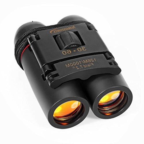 Aurosports 30x60 Folding Binoculars Telescope Low Night Vision for birding, etc