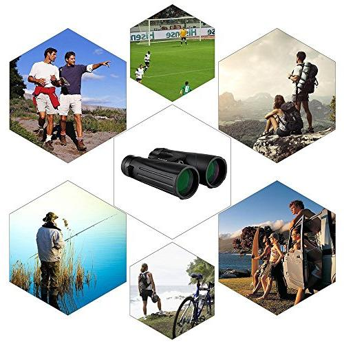 12x50 Waterproof for Adults, Ultra BAK-4 Prisms FMC Lens Hiking Sports with Clean
