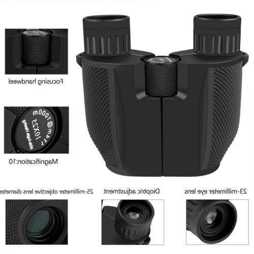 Binoculars Folding Roof Prism 10x25 Weak Light NEW