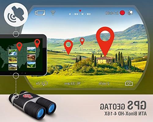 ATN 4-16 Binocular w/ Night Mode, Image Stabilization, IOS Android