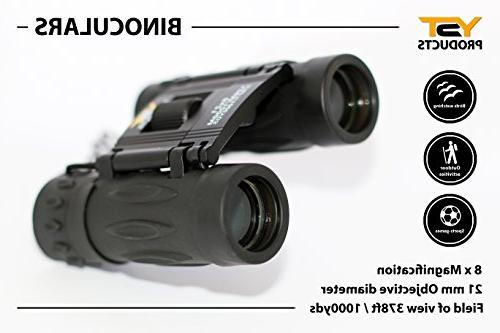 YST PRODUCTS Black 8x21 for Compact Binoculars, Children's Binoculars, Binoculars Boys