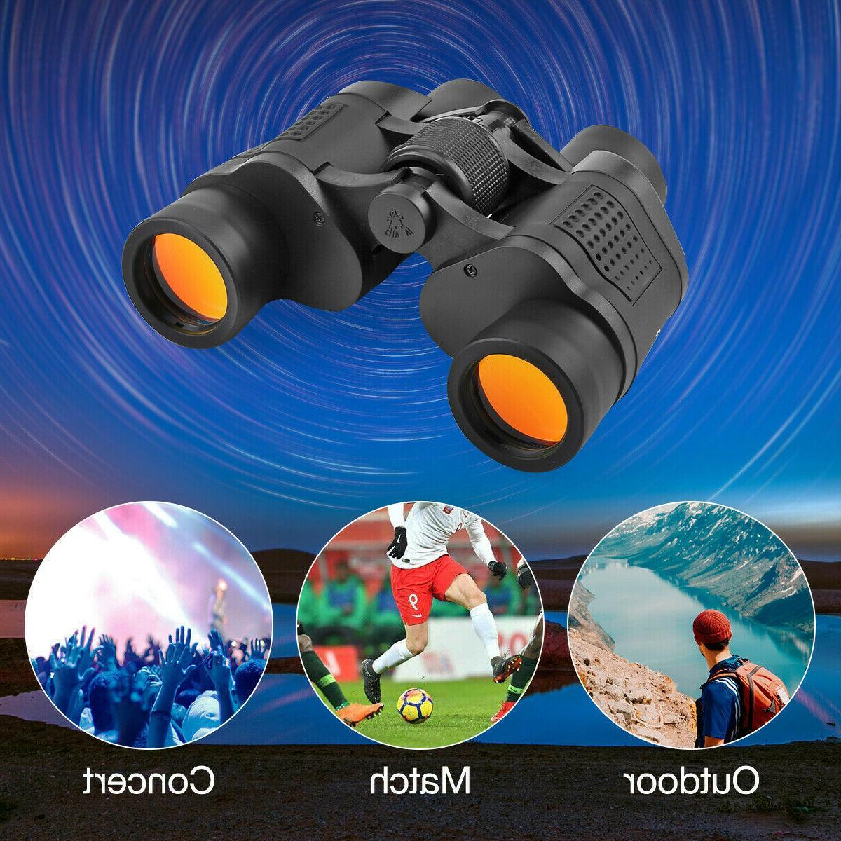 60X60 Day/Night HD Binoculars Outdoor Travel Telescope+Case